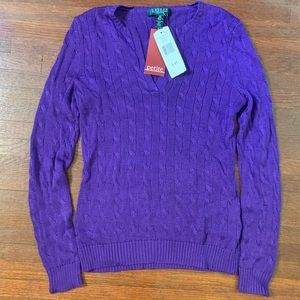 Ralph Lauren Petite S Cable Knit Sweater Purple